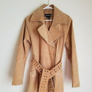 🎀3/$20 Misdemeanor Tan Leather Knee Length Jacket